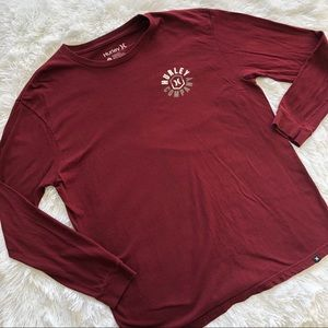 Hurley: Long Sleeve Maroon Top